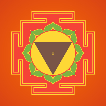 vector colored design Tara aspect Yantra Dasa Mahavidya sacred geometry divine mandala illustration bhupura lotus petals isolated orange background