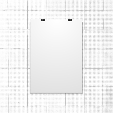 vector vertical white empty poster suspended on office clamps mock up realistic shadow blank template isolated dark square ceramic tile texture background
