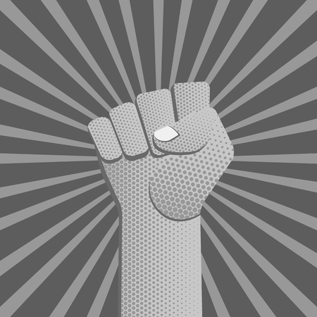 vector grayscale symbolic raised clenched power fist male hand protest concept sign vintage illustration retro dot texture poster design isolated on diverging rays background