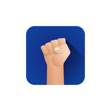vector flat design symbolic raised clenched power fist male hand protest concept sign illustration blue icon design on isolated white background
