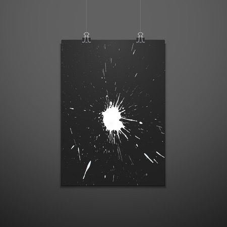 vector white paint splash texture color artistic shape modern poster design trendy brochure mockup invitation flyer layout minimal creative suspended black poster template on dark wall background  Ilustrace