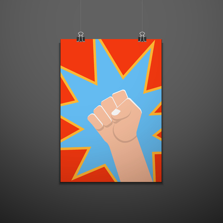vector symbolic raised clenched power fist male hand protest concept blue kick sign vintage illustration pop art design red dotted backdrop isolated suspended poster dark background