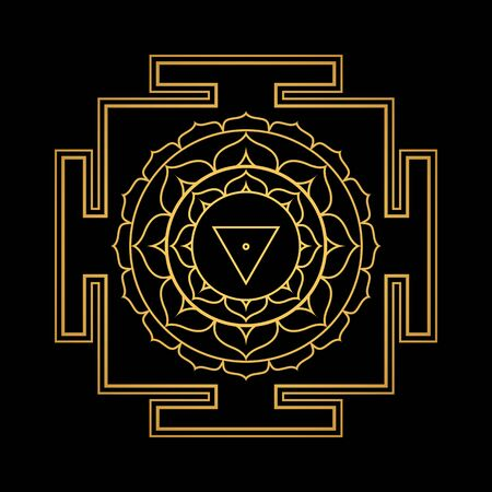 vector design shiny gold Matangi aspect Yantra Dasa Mahavidya sacred geometry divine mandala illustration bhupura lotus petals isolated black background