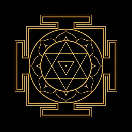 vector design shiny gold Dhumavati aspect Yantra Dasa Mahavidya sacred geometry divine mandala illustration bhupura lotus petals isolated black background