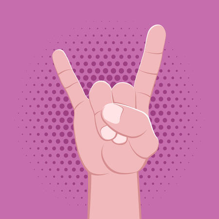 vector rock symbolic crossed fingers male palm hand goat gesture concept sign vintage illustration retro poster design isolated on violet pink dotted background