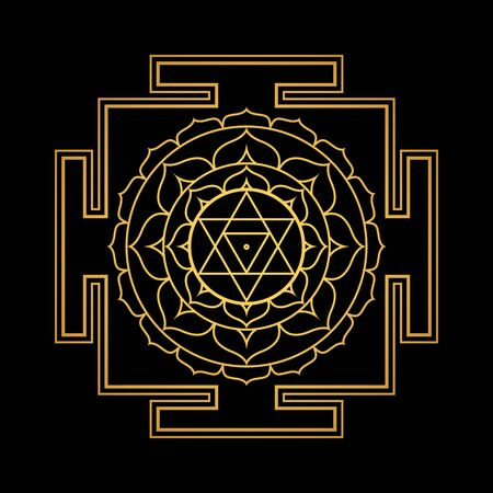 vector design shiny gold Bagalamukhi aspect Yantra Dasa Mahavidya sacred geometry divine mandala illustration bhupura lotus petals isolated black background