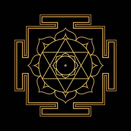 vector design shiny gold Devi Kamala aspect Kamalatmika Yantra Dasa Mahavidya sacred geometry divine mandala illustration bhupura lotus petals isolated black background