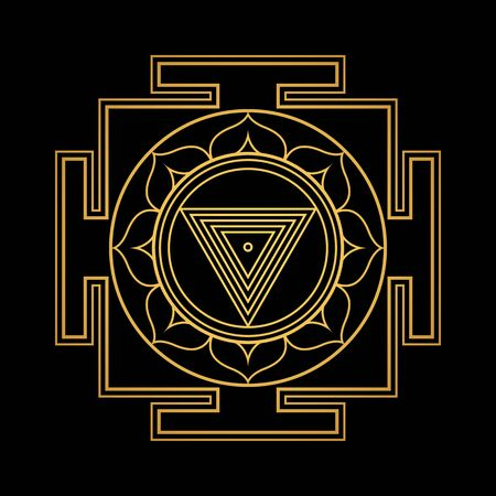 vector design shiny gold Maha Kali aspect Yantra Dasa Mahavidya sacred geometry divine mandala illustration bhupura lotus petals isolated black background