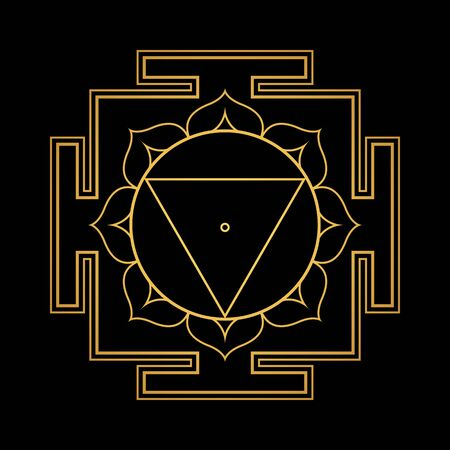 vector design shiny gold Tara aspect Yantra Dasa Mahavidya sacred geometry divine mandala illustration bhupura lotus petals isolated black background