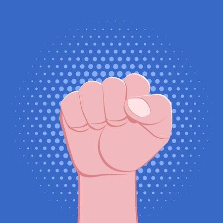 vector symbolic raised clenched power fist gesture male hand protest concept sign illustration light icon poster design isolated on blue background