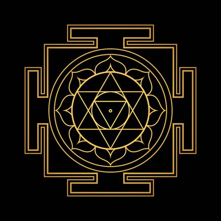 vector design shiny gold Sri Ram aspect Yantra sacred geometry divine mandala illustration bhupura lotus petals isolated black background