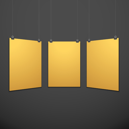 vector vertical gold empty poster set suspended on office clamps mock up realistic shadow blank template isolated black background