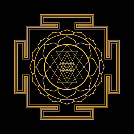 vector design shiny gold Tripura Sundari Shodashi aspect Yantra Dasa Mahavidya sacred geometry divine mandala illustration bhupura lotus petals isolated black background