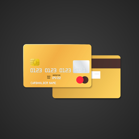 vector mock up gold vip blank plastic bank card face and back sides illustration realistic with shadow template design isolated on black background  イラスト・ベクター素材