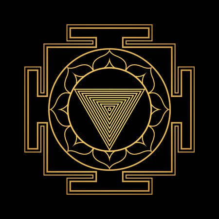 vector design shiny gold Tripura Bhairavi aspect Yantra Dasa Mahavidya sacred geometry divine mandala illustration bhupura lotus petals isolated black background
