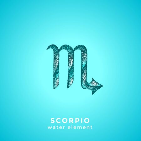 vector ink hand drawn dotwork tattoo style vintage design Scorpio zodiac sign water element illustration isolated cyan background