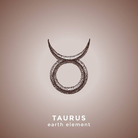 vector ink hand drawn dotwork tattoo style vintage design Taurus zodiac sign earth element illustration isolated brown background