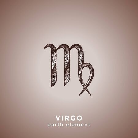 vector ink hand drawn dotwork tattoo style vintage design Virgo zodiac sign earth element illustration isolated brown background  イラスト・ベクター素材
