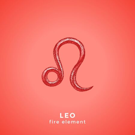 vector ink hand drawn dotwork tattoo style vintage design Leo zodiac sign fire element illustration isolated red background