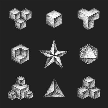 vector monochrome white retro dot art hand drawn cubical geometric volumetric blackwork design elements vintage tattoo style decoration isolated shape collection illustration black background