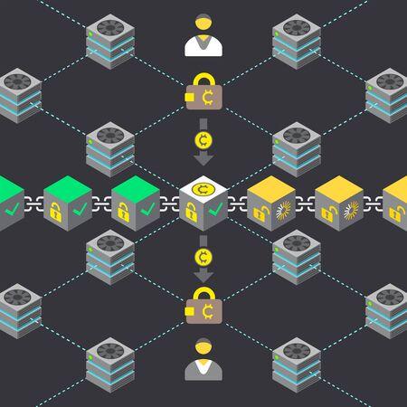 vector  cryptocurrency  transaction principal scheme validation infographic blockchain network technology digital business concept illustration  Çizim