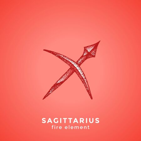 vector ink hand drawn dotwork tattoo style vintage design Sagittarius zodiac sign fire element illustration isolated red background