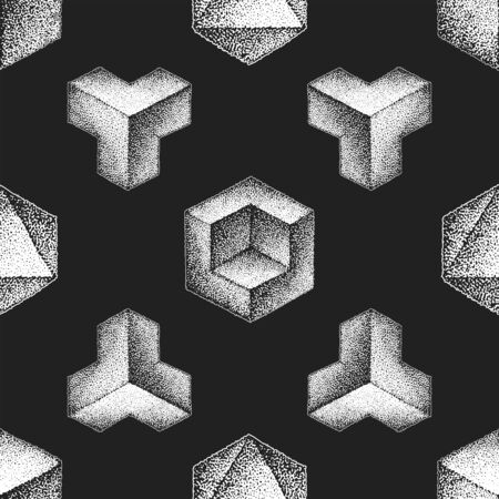 vector monochrome white retro dot art hand drawn cubical geometric volumetric blackwork design vintage tattoo style decoration shape illustration black background seamless pattern