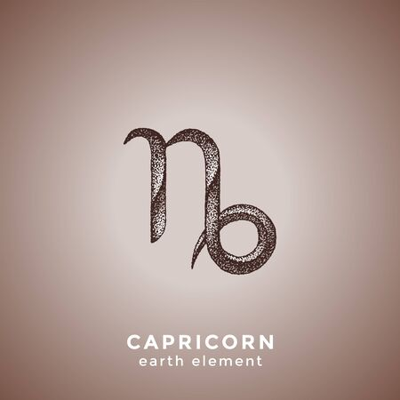 vector ink hand drawn dotwork tattoo style vintage design Capricorn zodiac sign earth element illustration isolated brown background  イラスト・ベクター素材