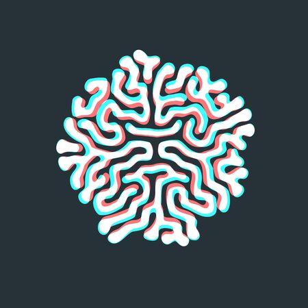 vector anaglif design Turing morphogenesis reaction diffusion pattern organic ornament element dark background Illustration