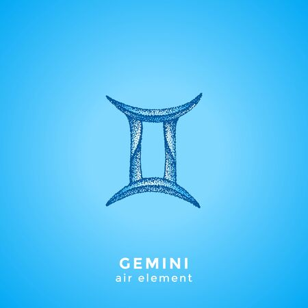 vector ink hand drawn dotwork tattoo style vintage design Gemini zodiac sign air element illustration isolated blue background