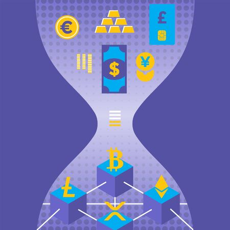 vector fiat money digitalization to cryptocurrency principal evolution scheme blockchain network technology digital business hourglass concept violet illustration