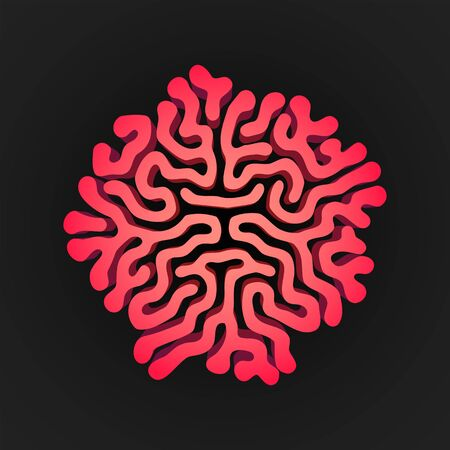 vector red design Turing morphogenesis reaction diffusion pattern organic ornament element black background