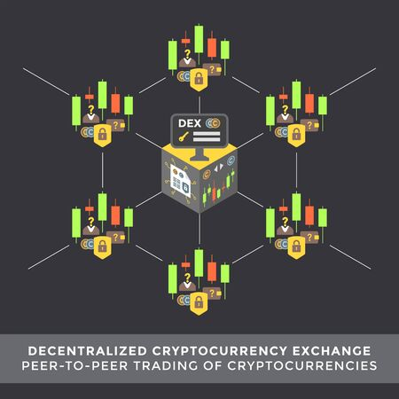 vector decentralized cryptocurrency exchange principal scheme peer-to-peer trading infographic blockchain network technology digital business concept illustration