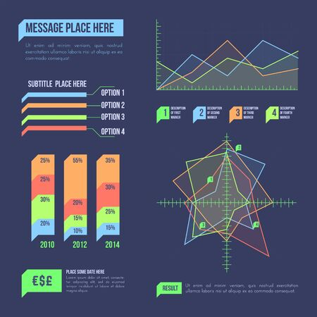vector various charts layout business process data visualization infographic icon elements marketing collection template bundle dark background   イラスト・ベクター素材