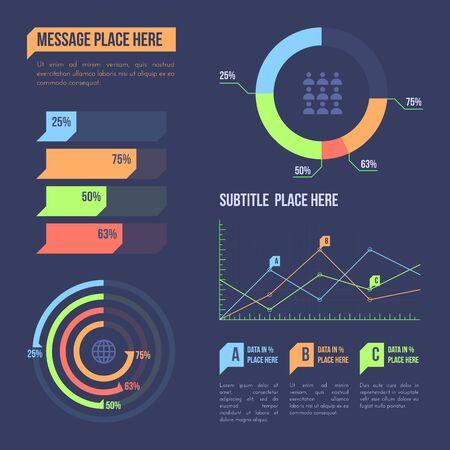 vector diseño de gráficos varios procesos de negocio visualización de datos infografía elementos de icono colección de marketing paquete de plantillas fondo oscuro Ilustración de vector