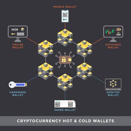 Vektor heiße und kalte Kryptowährungsgeldbörsen Hauptschema online mobiler Austausch Hardware Papier Desktop-Typen Infografik Blockchain-Technologie digitales Geschäftskonzept Illustration