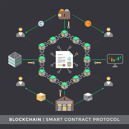 vector smart contract protocol algorithm distributed network principal scheme infographic blockchain technology digital business concept illustration