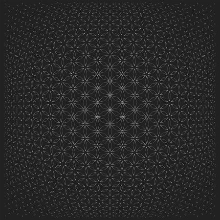 vector contour sacred geometry volumetric flower of life circle pattern dark background