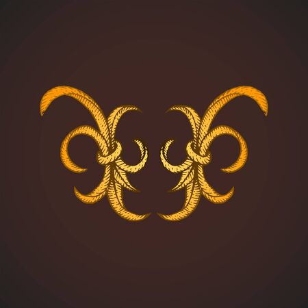 vector gold colored blackwork tattoo hand drawn engraving vintage floral baroque ornament element illustration decoration dark background