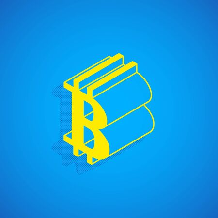 vector isometric yellow color bitcoin logo cryptocurrency sign illustration isolated blue background  イラスト・ベクター素材