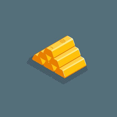vector isometric design stack of shiny gold bars illustration isolated dark background  イラスト・ベクター素材