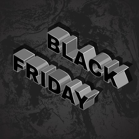 vector isometric lettering mockup BLACK FRIDAY inscription percent sign advertising banner template promotion layout dark textured background  イラスト・ベクター素材