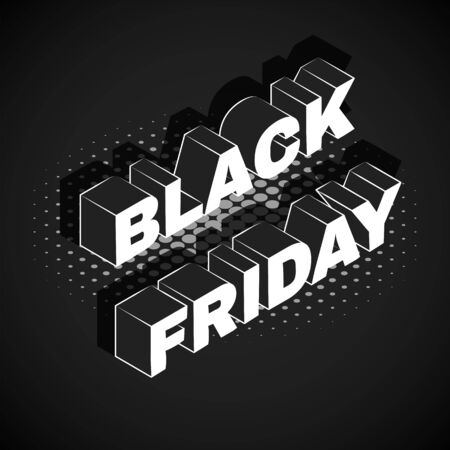 vector isometric lettering mockup BLACK FRIDAY inscription percent sign advertising banner template promotion layout black background  イラスト・ベクター素材