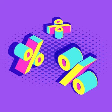 vector isometric lettering mockup various angles percent signs pop art advertising banner template promotion layout violet background