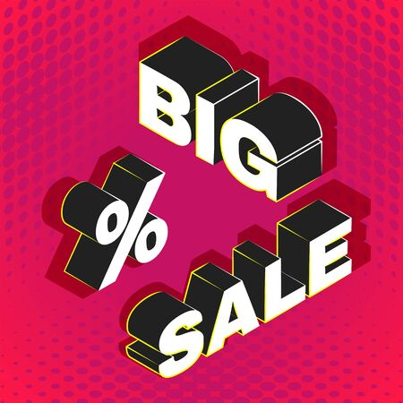 vector isometric lettering mockup BIG SALE inscription percent sign advertising banner template promotion layout red background