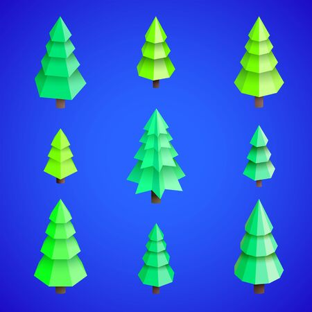 vector realistic isometric low poly design new year christmas tree set isolated blue background collection
