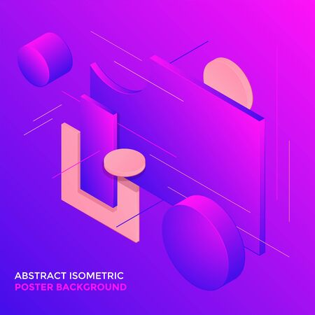 vector violet colors abstract volumetric shapes minimal design poster template decoration modern isometric background layout