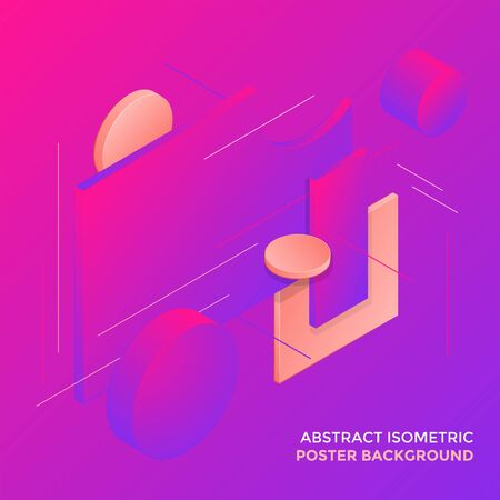 vector vibrant colors abstract volumetric shapes minimal design poster template decoration modern isometric background layout  イラスト・ベクター素材