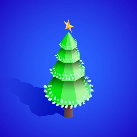 vector realistic isometric design new year christmas tree with decoration isolated blue background  イラスト・ベクター素材