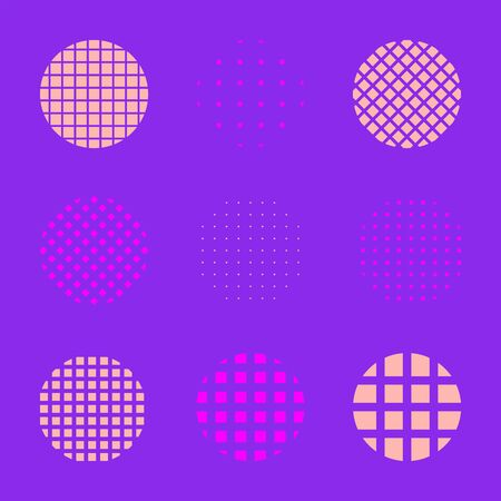 vector line net circle shapes set minimal abstract design decoration elements collection  イラスト・ベクター素材